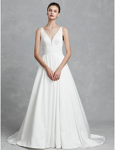Ball Gown V Neck Chapel Train Satin Regular Straps Cutouts Made-To-Measure Wedding Dresses with Ruched 2020