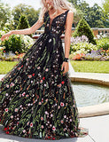 A-Line V Neck Floor Length Organza / Tulle Floral / Elegant & Luxurious Formal Evening / Holiday Dress 2020 with Embroidery / Pattern / Print