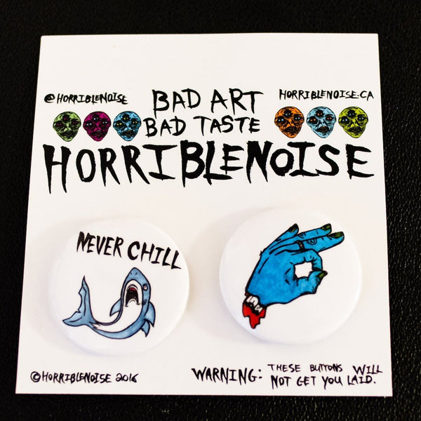 HORRIBLE BUTTON PACK,  Buttons by HORRIBLENOISE