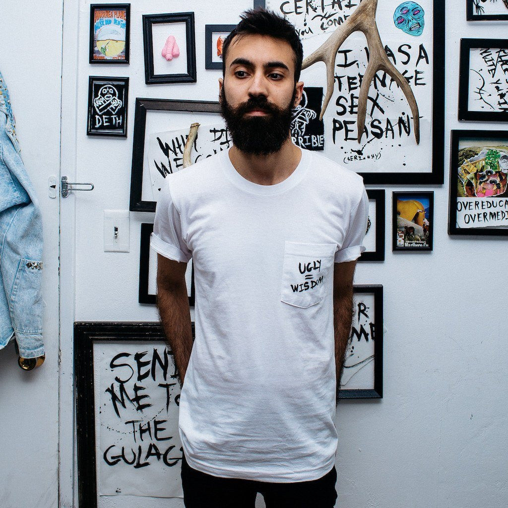 UGLY = WISDOM pocket tee,  Pocket Tee by HORRIBLENOISE