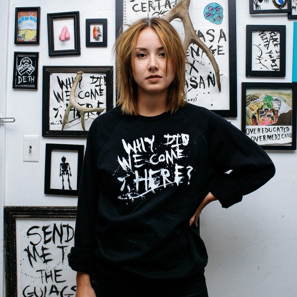 WHY DID WE COME HERE crewneck sweater,  Sweater by HORRIBLENOISE