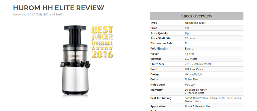 Juicing Journal: Best of 2016 Hurom HH Elite Review Hurom Blog