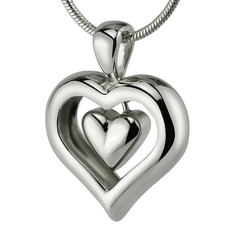 "Eternity Heart Rhodium Silver Finish Cremation Jewelry Urn Keepsake 18"" Necklace"