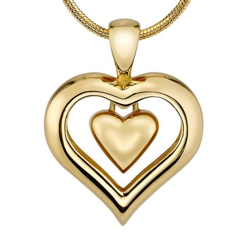 The Eternity Heart 18kt Gold Finish Cremation Jewelry Urn Keepsake Necklace