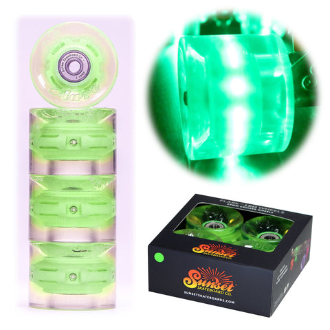 Green 59mm Cruiser Wheel Set with ABEC-9 Bearings (4-Pack)