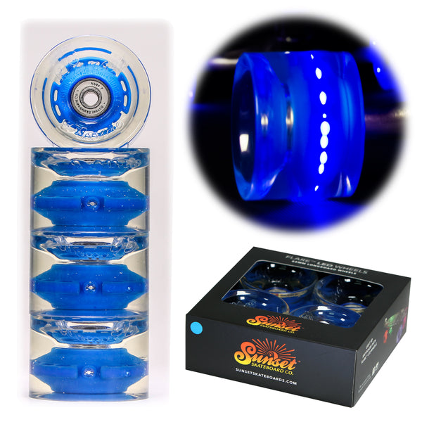 Blue 65mm Longboard Wheel Set - Conical - with ABEC-7 Carbon Steel Bearings (4-Pack)