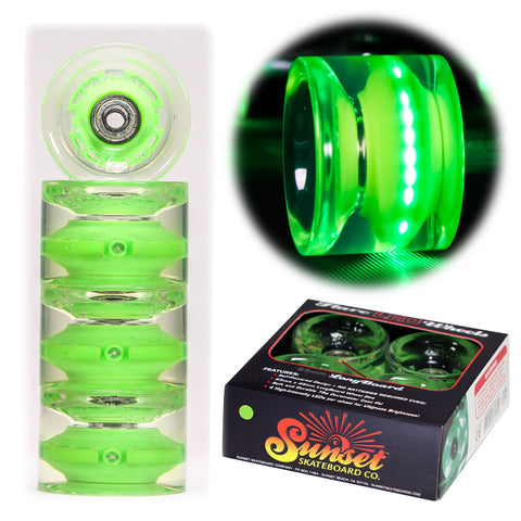 Green 65mm Longboard Wheel Set - Conical - with ABEC-7 Carbon Steel Bearings (4-Pack)