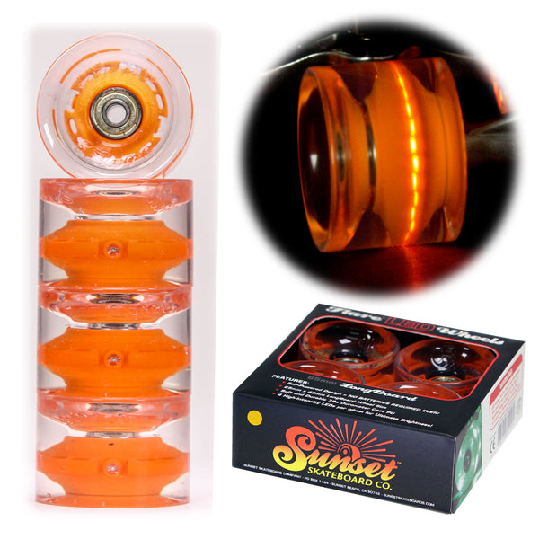 Orange 65mm Longboard Wheel Set - Conical - with ABEC-9 Bearings (4-Pack)