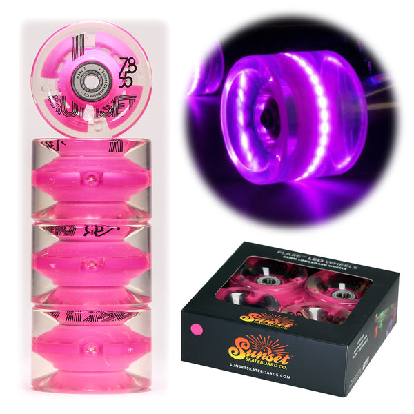 Pink 65mm Longboard Wheel Set with ABEC-7  Carbon Steel Bearings (4-Pack)