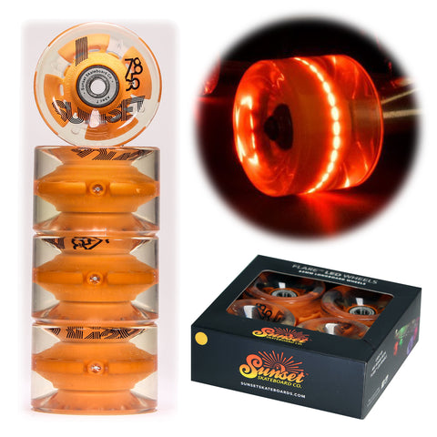 Orange 65mm Longboard Wheel Set with ABEC-7  Carbon Steel Bearings (4-Pack)