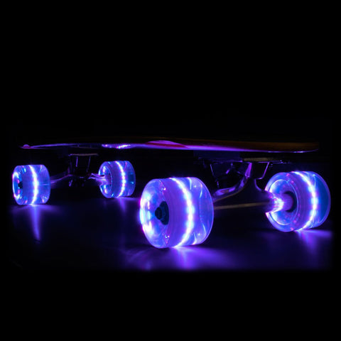 Purple 65mm Longboard Wheel Set with ABEC-7  Carbon Steel Bearings (4-Pack)