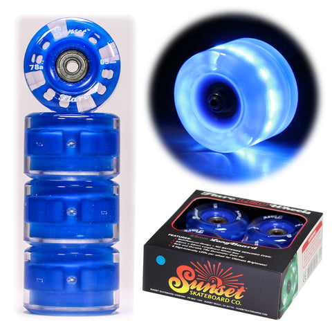 Blue 65mm Longboard Wheel Set - Round - with ABEC-9 Bearings (4-Pack)