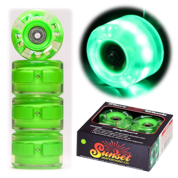 Green 65mm Longboard Wheel Set - Round - with ABEC-9 Bearings (4-Pack)