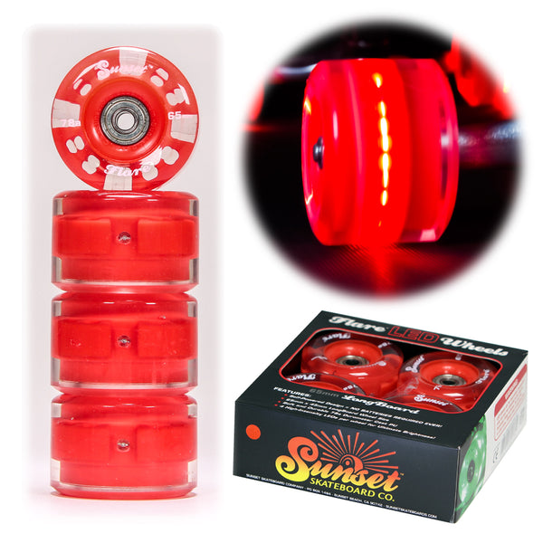 Red 65mm Longboard Wheel Set - Round - with ABEC-9 Bearings (4-Pack)