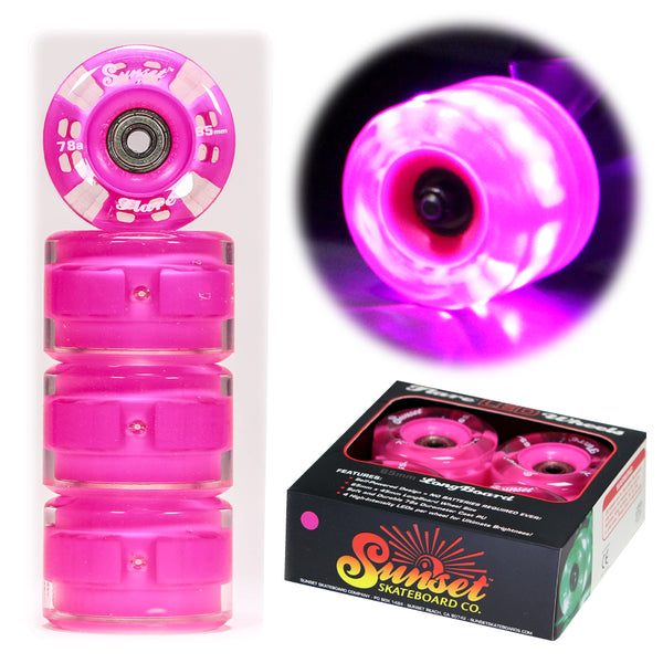 Pink 65mm Longboard Wheel Set - Round - with ABEC-9 Bearings (4-Pack)