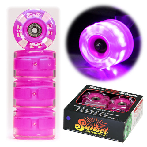Purple 65mm Longboard Wheel Set - Round - with ABEC-9 Bearings (4-Pack)