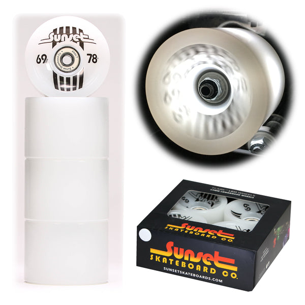 White 69mm Longboard Wheel Set with ABEC-7  Carbon Steel Bearings (4-Pack)