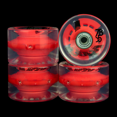 2016 Red 65mm Longboard Wheel Set (4-pack)