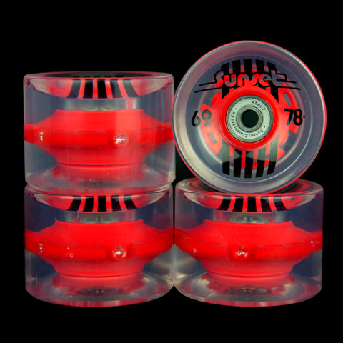 2016 Red 69mm Longboard Wheel Set