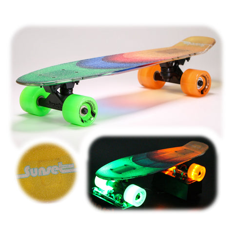 "Duces 22"" LED Complete Skateboard with Transparent Griptape"