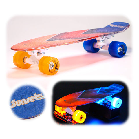 "Aces 22"" LED Complete Skateboard with Transparent Griptape"