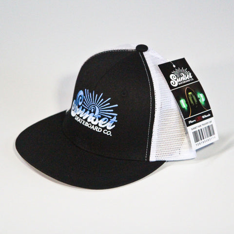Sunset Trucker Hat - Black on White - Blue Logo