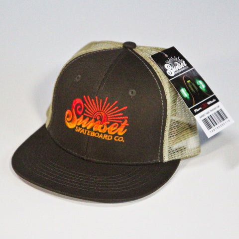Sunset Trucker Hat - Brown on Brown - Orange Logo