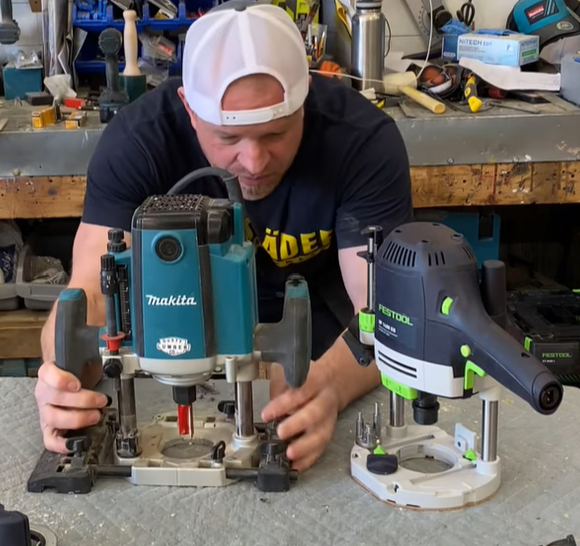 Dusty with Makita and Festool routers