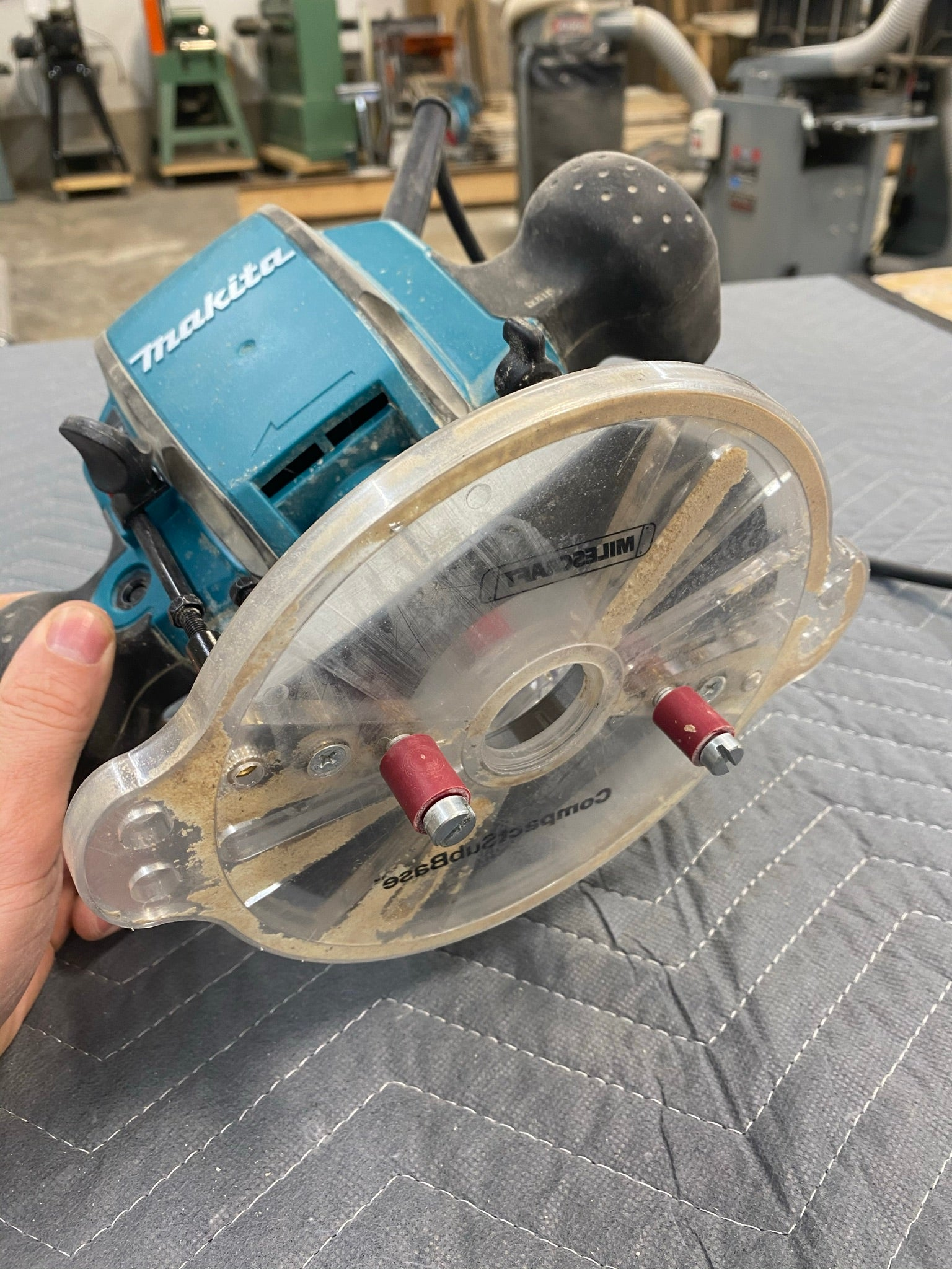 Makita Plunge Router with Milescraft Mortising pins
