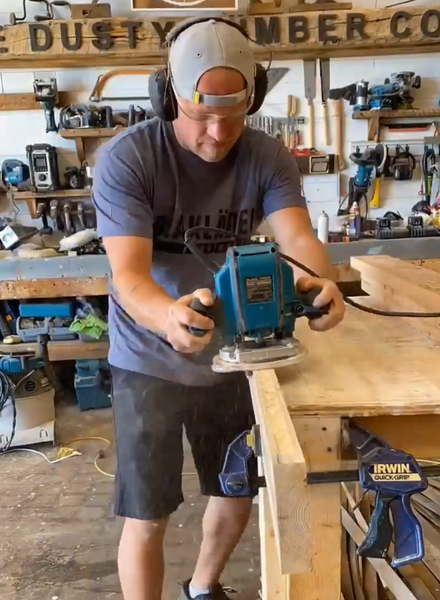 Dusty using Makita to mortise