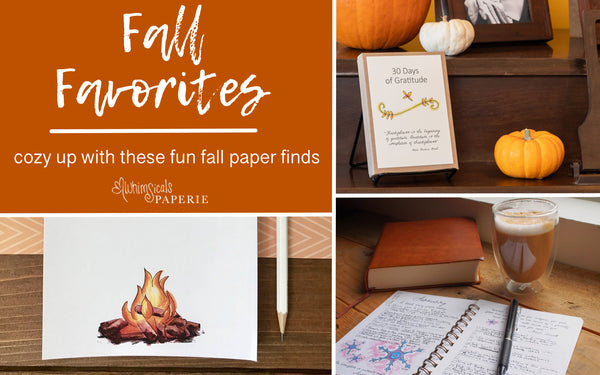 fall paper finds graphic featuring a campfire notepad, 30 days of gratitude sitting near pumpkins, and a gratitude journal near a book and cup of coffee