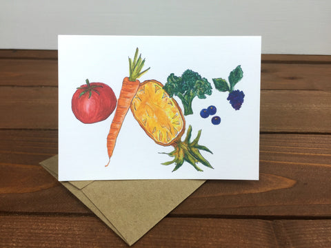tomato, carrot, pineapple, broccoli, blueberries and blackberry illustration on a note card