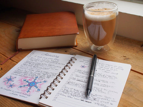 open gratitude journal sitting near a book and mug of coffee
