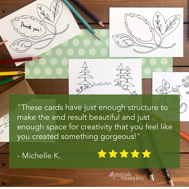 Color Your Own Notecards - Assorted Set of 8 Worded Coloring Cards 1