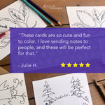 Color Your Own Postcards - Assorted Set of 8 Worded Coloring Cards