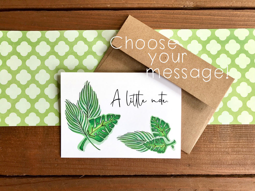 Tropical Leaf Cards, Choose Your Message - Boxed Set of 8