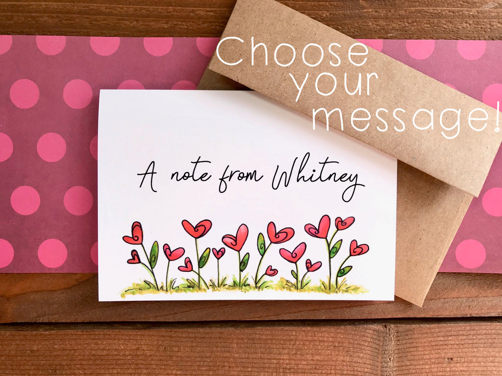 Heart Flower Notecards | Choose Your Message - Boxed Set of 8