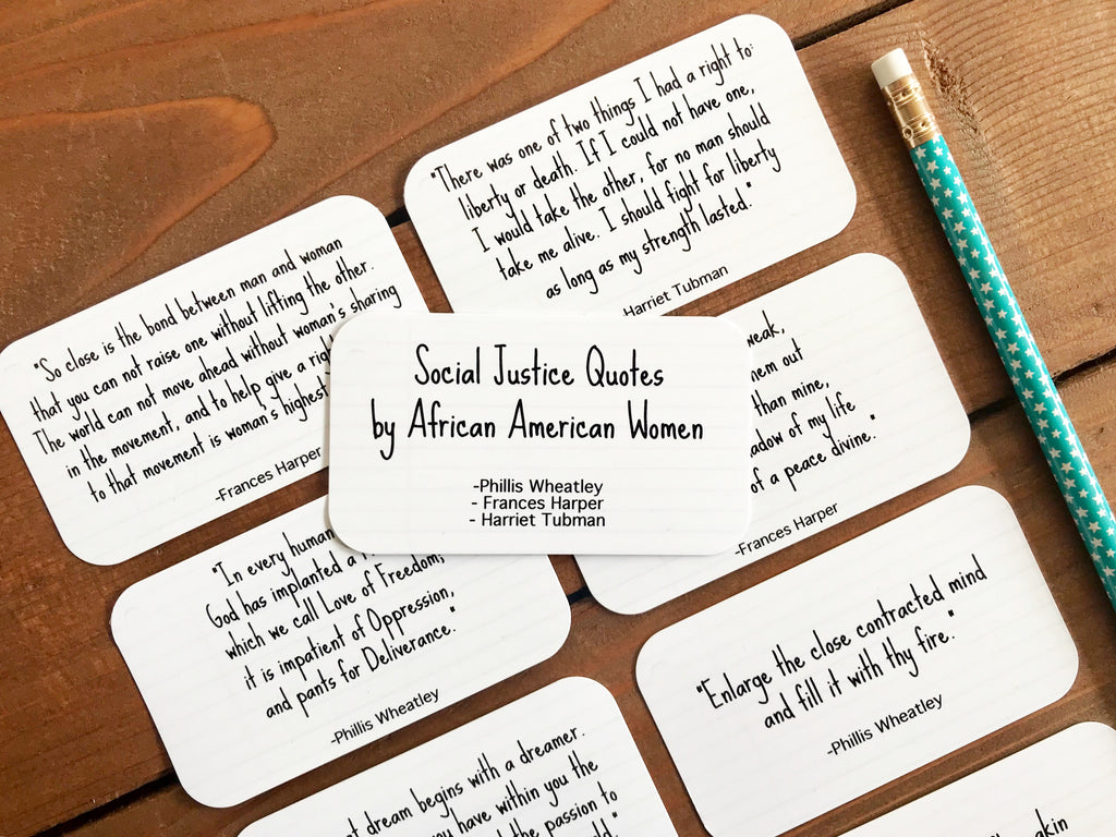 Social Justice Quotes by African American Women / Quotes by Strong Black Women - Set of 8 Mini Quote Cards