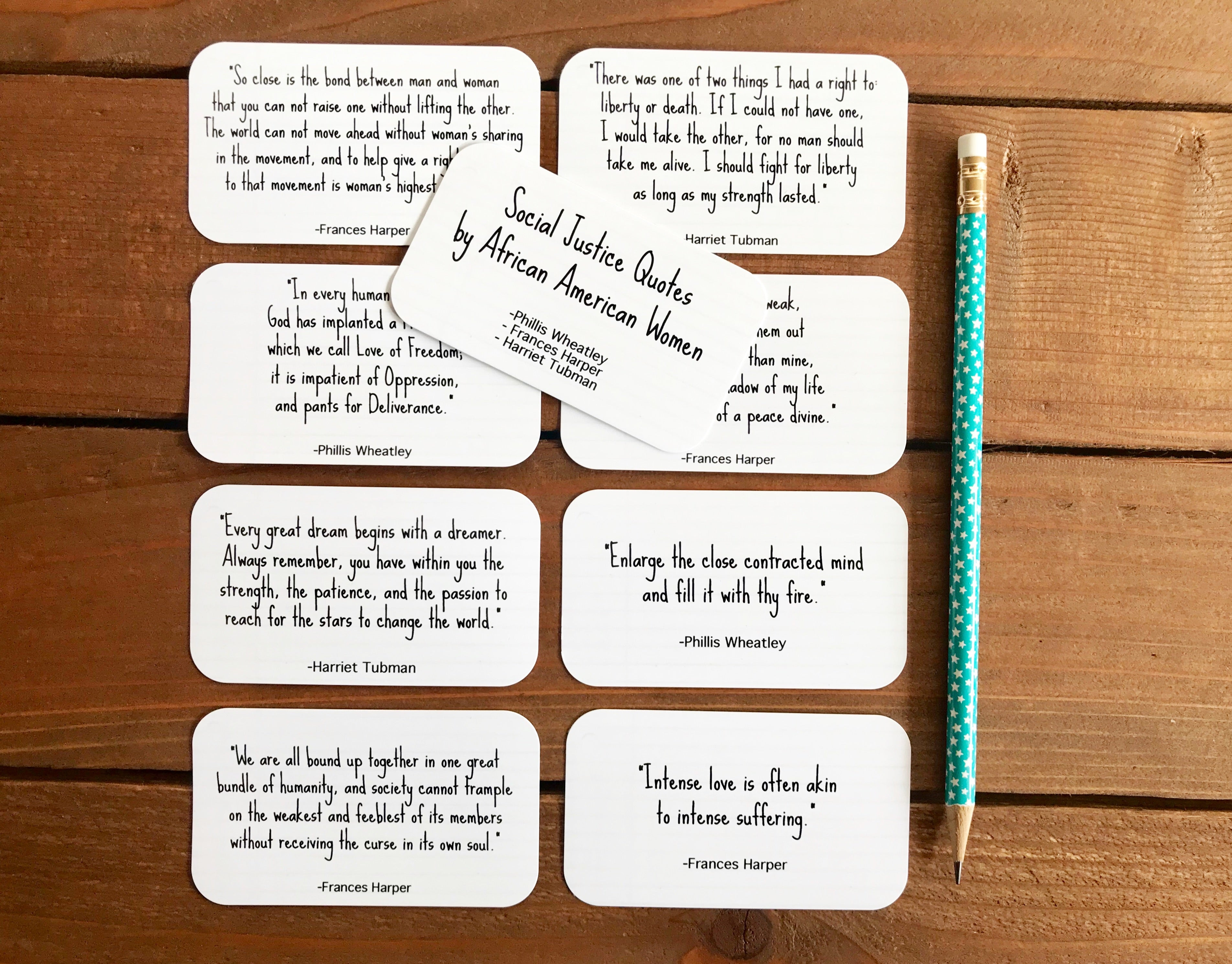 Social Justice Quotes by African American Women | Set of 8 Mini Quote Cards
