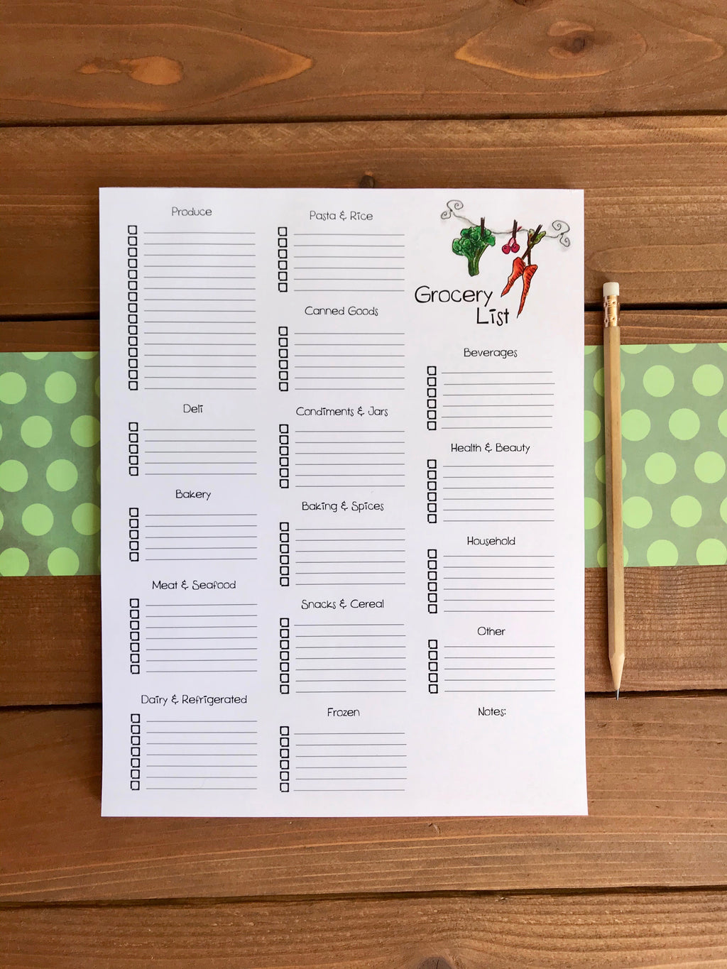 Large Grocery List Magnetic Notepad with Categories | Personalization Optional | 52 Sheets