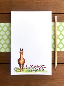 Llama in a Bed of Hearts Notepad - Personalization Available