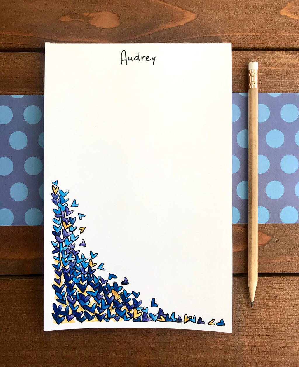 Tumbling Hearts Notepad - Personalization Available
