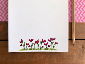 Heart Flowers Notepad - Personalization Available