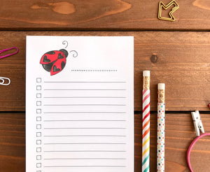 Ladybug To Do List Notepad - Magnetic | Double Sided Sheets | Personalization Available
