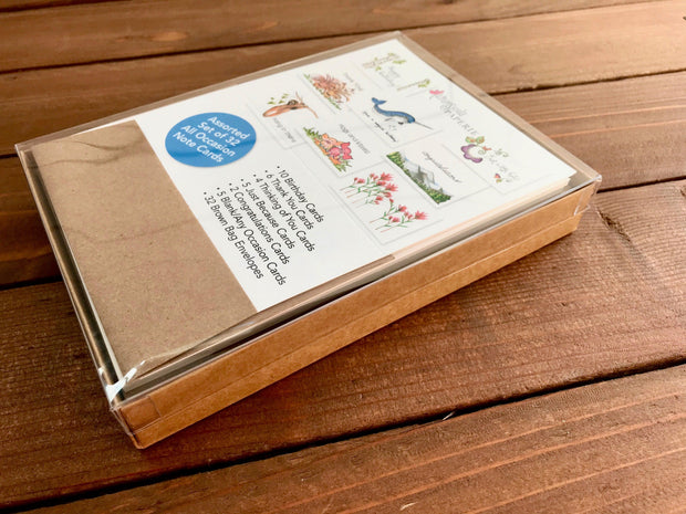 Assorted All Occasion Note Cards - Boxed Set of 32 1