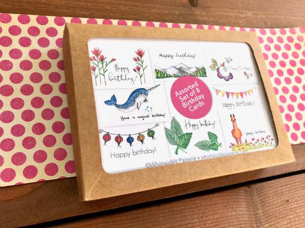 Assorted Birthday Cards - Boxed Set of 8 1