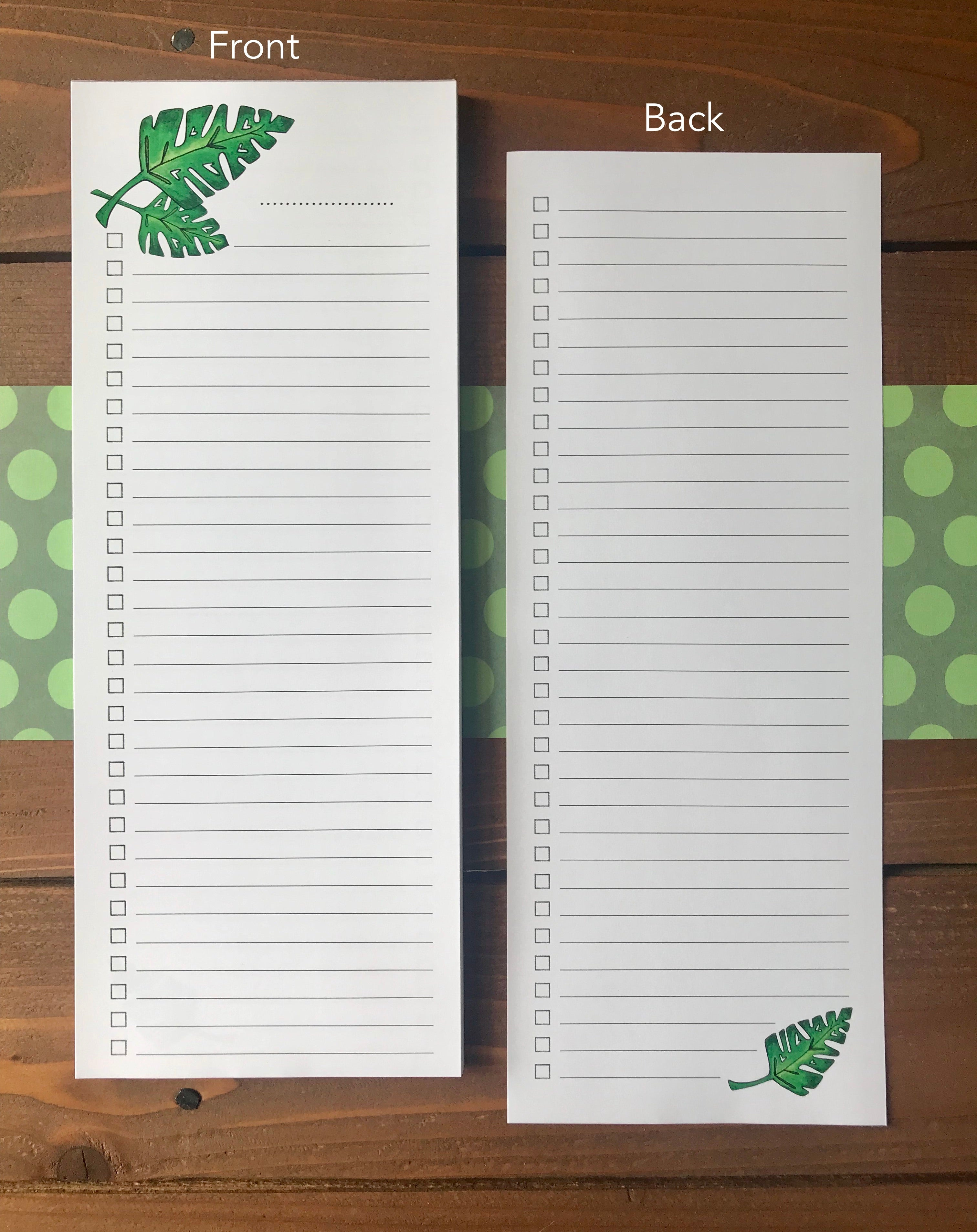 Tropical Leaf Double Sided To Do List Notepad - Magnetic | Personalization Available