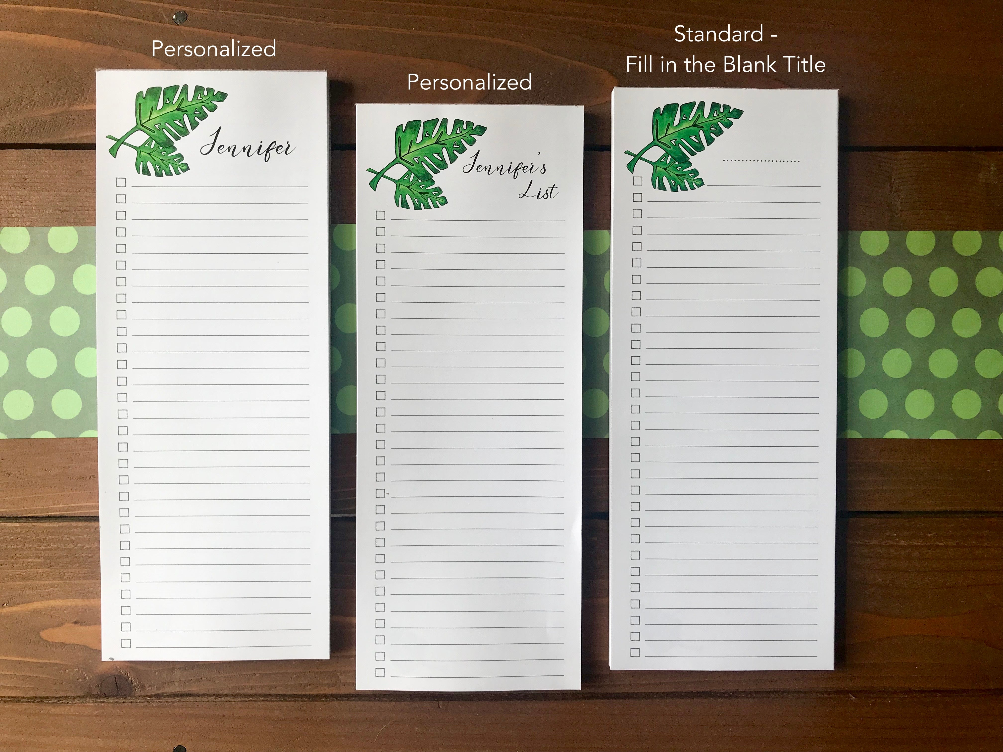 Monstera Leaf Double Sided To Do List Magnetic Notepad