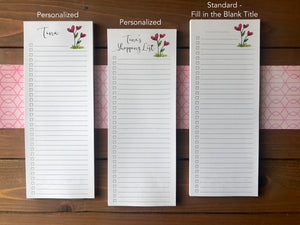Heart Flowers To Do List Notepad - Magnetic | Double Sided Sheets | Personalization Available