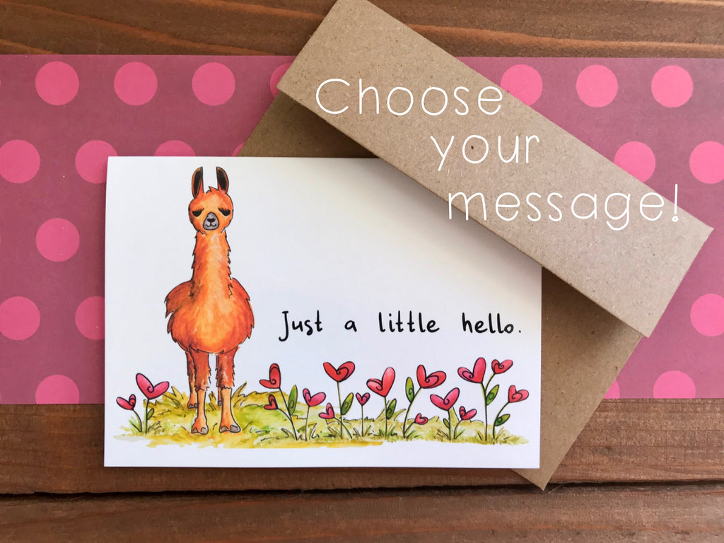 Llama in Bed of Hearts Notecards | Choose Your Message - Boxed Set of 8